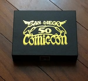 A box showing the San Diego Comic-Con logo.