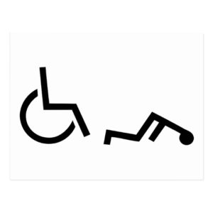 The handicapped symbol with the figure on the ground in front of the wheelchair.