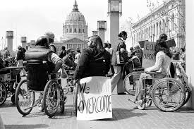 Wheelchair users at a rally in Washington, DC.