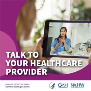 "Picture of a doctor communicating with a patient via video and the image says ""Talk to you healthcare provider."""