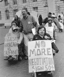 Disability rights protesters in San Francisco 1977.