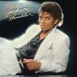 "The cover of Michael Jackson's album ""Thriller."""