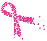 Breast Cancer Awareness Month ribbon made of hearts.