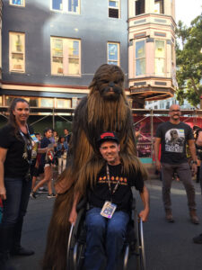 Chewbacca cosplayer at San Diego Comic-Con in 2019.