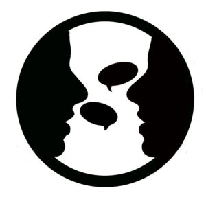 Clipart image of two people talking.