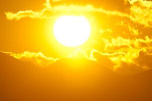 Blazing sun.