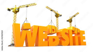 Construction cranes placing finishing touches on a 3D model spelling the word website.